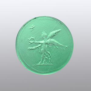 #0586-15x15 verde tormalina-intaglio-cameo