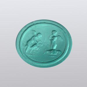 #0859-16.5x14.5 verde marino-cameo-intaglio